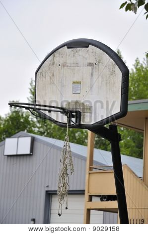 Old Basketball Board And Hoop