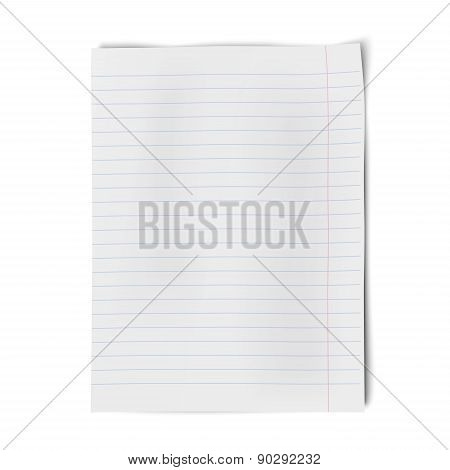 Lined Notebook Paper Isolated On White Background