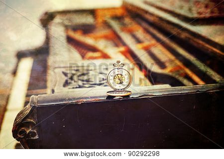 Vintage Piano Keys With Antique Pocket Watch - Time Concept, Vintage Picture
