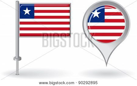 Liberian pin icon and map pointer flag. Vector