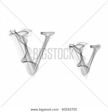 Black Smoke font. Letter V