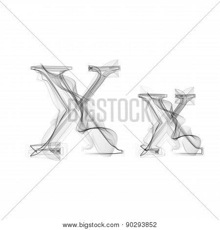 Black Smoke font. Letter X