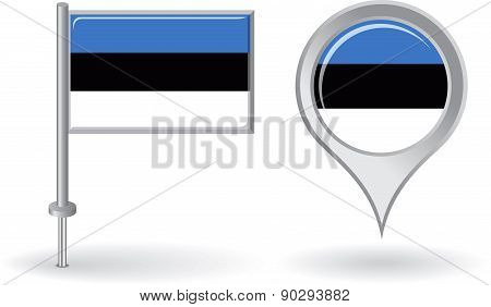 Estonian pin icon and map pointer flag. Vector
