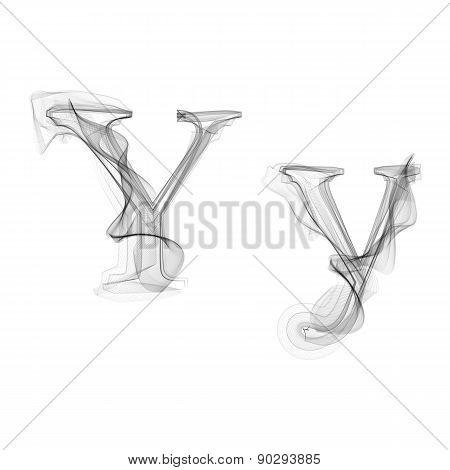 Black Smoke font. Letter Y