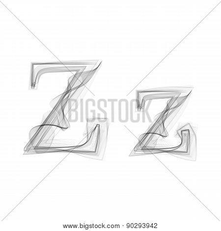 Black Smoke font. Letter Z