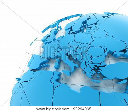 Globe of Europe with national borders