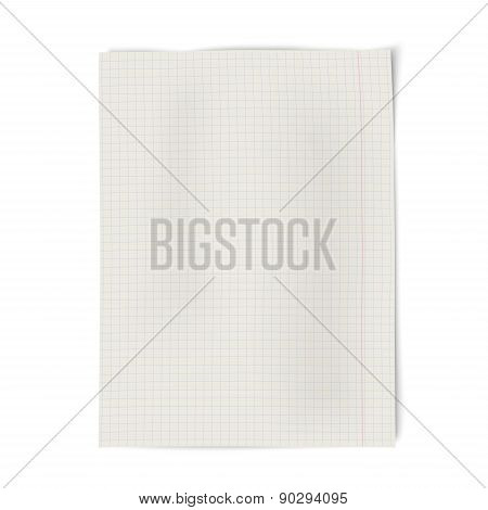 Notebook Squared Paper Isolated On White Background
