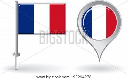 French pin icon and map pointer flag. Vector