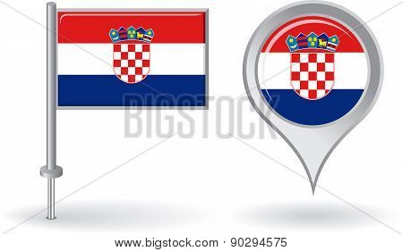 Croatian pin icon and map pointer flag. Vector