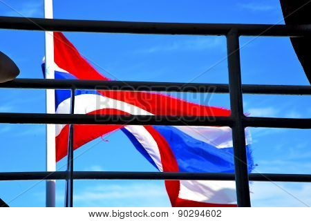 Asia  Kho Samui Bay Isle Waving Flag    In Thailand