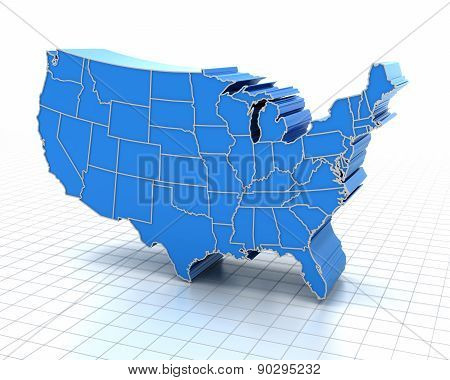 Extruded map of USA with state borders
