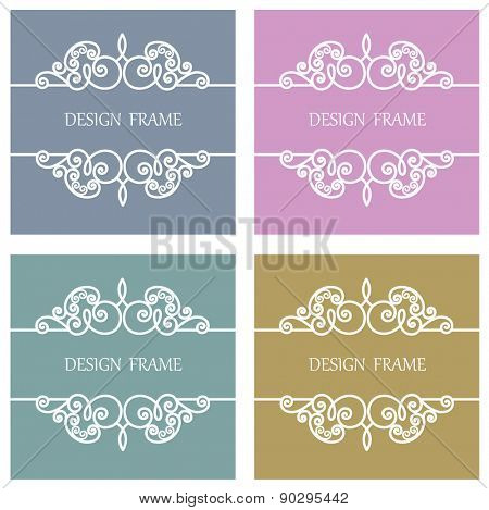 Vector Line Frame for Monogram, Invitation, Wedding with Copy Space for Text.
