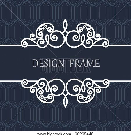 Decorative Line Label with  Ornament. Vintage Frame for Wedding, Invitation, Monogram, Vignette.