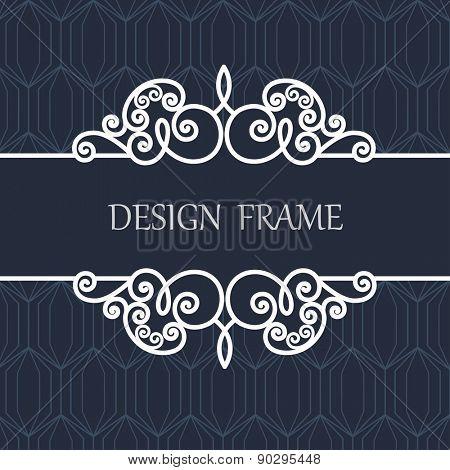 Decorative Line Label with  Ornament. Vintage Frame for Wedding, Invitation, Monogram, Vignette.