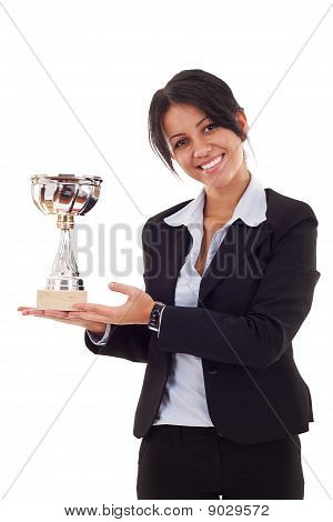Woman Winning A Trophy