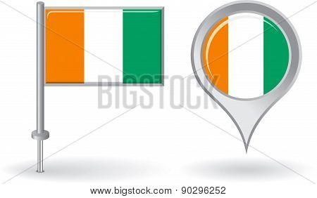 Cote d Ivoire pin icon and map pointer flag. Vector