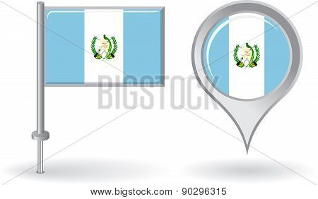Guatemalan pin icon and map pointer flag. Vector