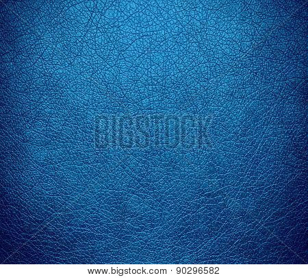Cyan cornflower blue color leather texture background
