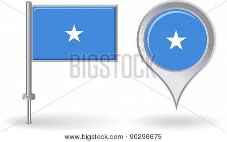 Somalian pin icon and map pointer flag. Vector