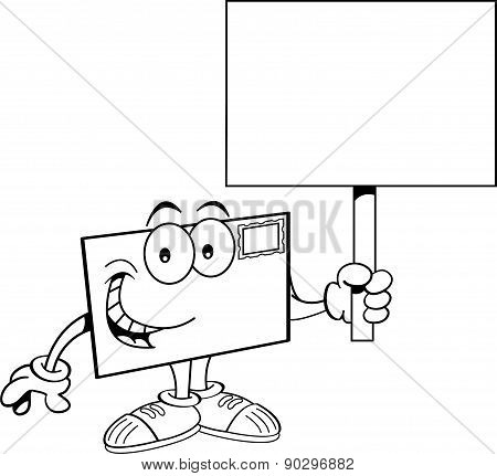 Cartoon envelope holding a sign.