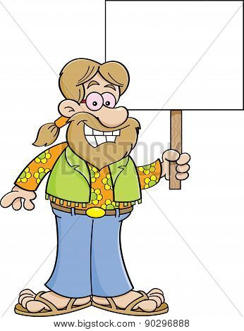Cartoon hippie holding a sign.