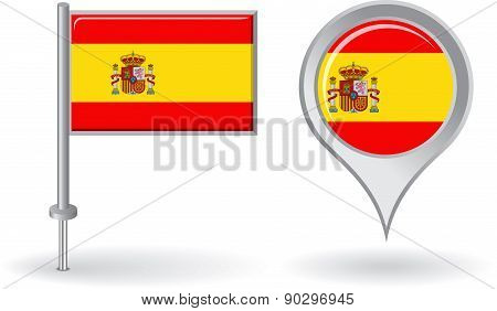 Spanish pin icon and map pointer flag. Vector