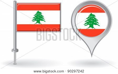 Lebanese pin icon and map pointer flag. Vector