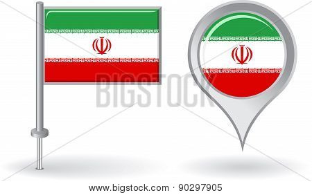 Iranian pin icon and map pointer flag. Vector