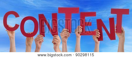People Hands Holding Red Word Content Blue Sky
