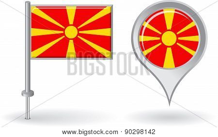 Macedonian pin icon and map pointer flag. Vector