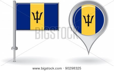 Barbados pin icon and map pointer flag. Vector