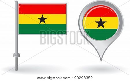 Ghanaian pin icon and map pointer flag. Vector