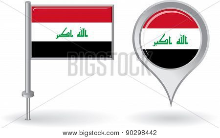 Iraqi pin icon and map pointer flag. Vector