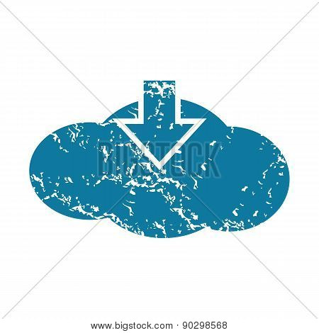 Grunge cloud download icon