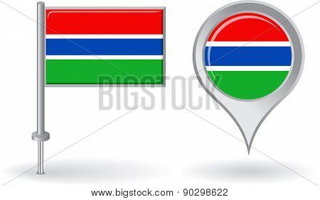 Gambian pin icon and map pointer flag. Vector