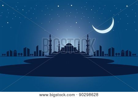Vector Mosque Welcome Ramadan