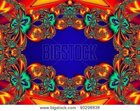 Flower Pattern In Fractal Design. Orange And Blue Palette. Artwork For Creative Design, Art And Ente