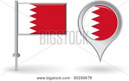 Bahrain pin icon and map pointer flag. Vector