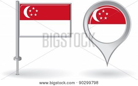 Singapore pin icon and map pointer flag. Vector