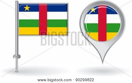 Central African Republic pin icon and map pointer flag. Vector