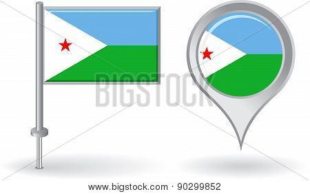 Djibouti pin icon and map pointer flag. Vector
