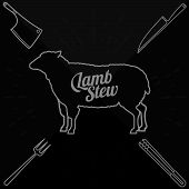 stock photo of beef shank  - Vector illustration of beef pork lamb and chicken vegetables image bread drinks and cooking tools - JPG