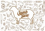 picture of lamb shanks  - Vector illustration of beef pork lamb and chicken vegetables image bread drinks and cooking tools - JPG