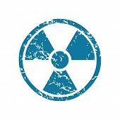 image of hazard  - Grunge blue icon with image of hazard symbol - JPG