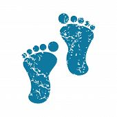 picture of webbed feet white  - Grunge blue icon with image of footprint - JPG