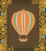 foto of mechanical drawing  - Hot Air Balloon Steampunk on the poster with the mechanical elements and gear - JPG