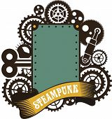 picture of mechanical drawing  - illustration Steampunk frame with gears and mechanisms on a white background - JPG