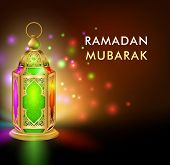 picture of occasion  - Realistic 3D Dimensional Elegant Ramadan Kareem Lantern or Fanous With Colorful Lights in Night Background for the Holy Month Occasion of fasting - JPG