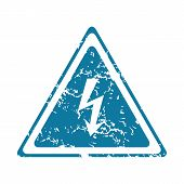 picture of voltage  - Grunge blue icon with high voltage sign - JPG