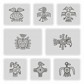 Постер, плакат: set of monochrome icons with American Indians relics dingbats characters part 1